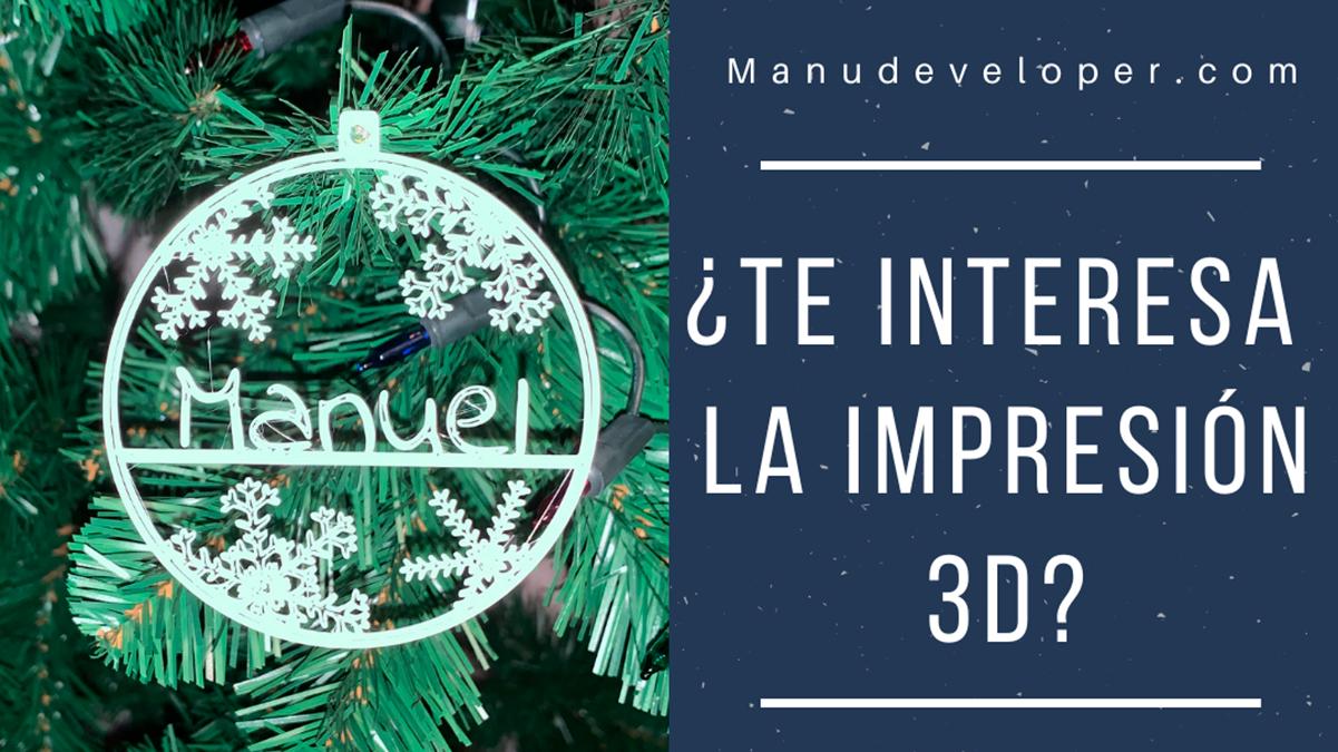 Imagen de bola de navidad creada con impresión 3D, con la pregunta ¿Te interesa la impresión 3d?
